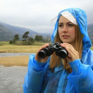 blue rain jacket with hood