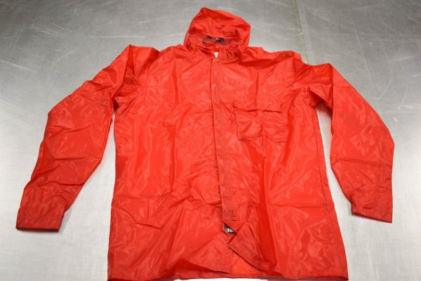 Large red rain jacket