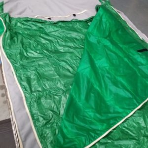 Kelly green sleeping bag, -60 to 60 degree capability